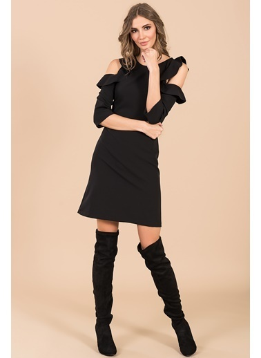 Kol Detaylı Düz Elbise-İroni